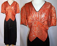 Art Deco Orange Lamé Gold Metallic Black Silk Bias Cut Belted Dress