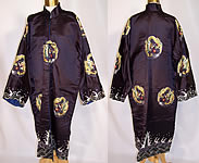 Vintage Antique Chinese Dragon Embroidered Roundel Black Silk Robe Coat