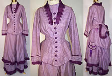 Victorian Purple & White Check Plaid Silk Bustle Skirt Dress 3pc Gown