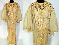 Edwardian Titanic Ecru Wool Chenille Gold Embroidered Lace Trim Dress