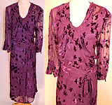 Vintage Purple Floral Violet Voided Velvet Silk Chiffon Bias Cut Dress & Slip