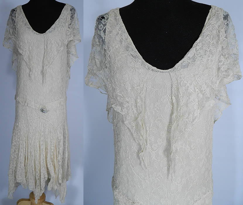 Vintage White Chantilly Lace Handkerchief Hem Drop Waist Flapper Dress