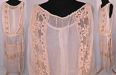 Vintage Cream Silk Chiffon Crochet Lace Pearl Beaded Drop Waist Wedding Dress