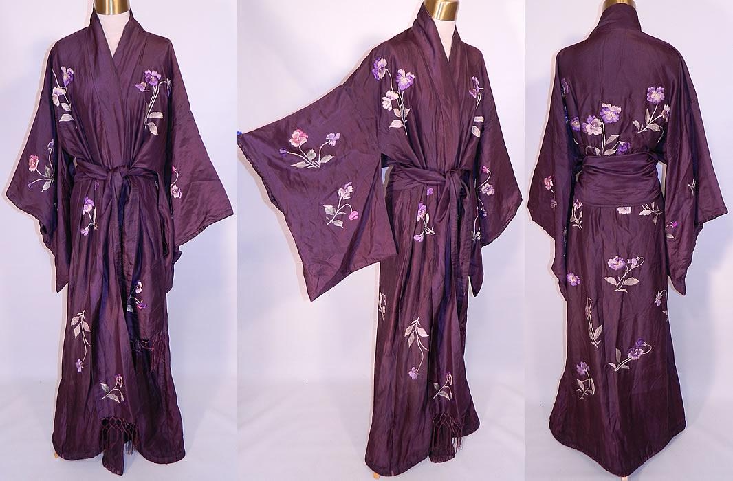 Antique Japanese Purple Plum Pansy Embroidered Silk Sash Kimono Robe c36e2e92a