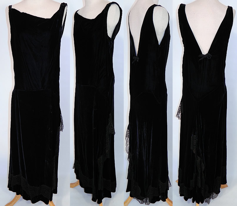Vintage Black Silk Velvet Chantilly Lace Bias Cut Evening Gown Dress This is truly a wonderful piece of wearable art