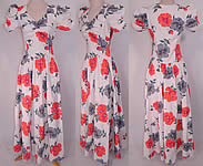 Vintage 1940s White Cotton Pique Pansy Print Floral Long Floor Length Maxi Dress
