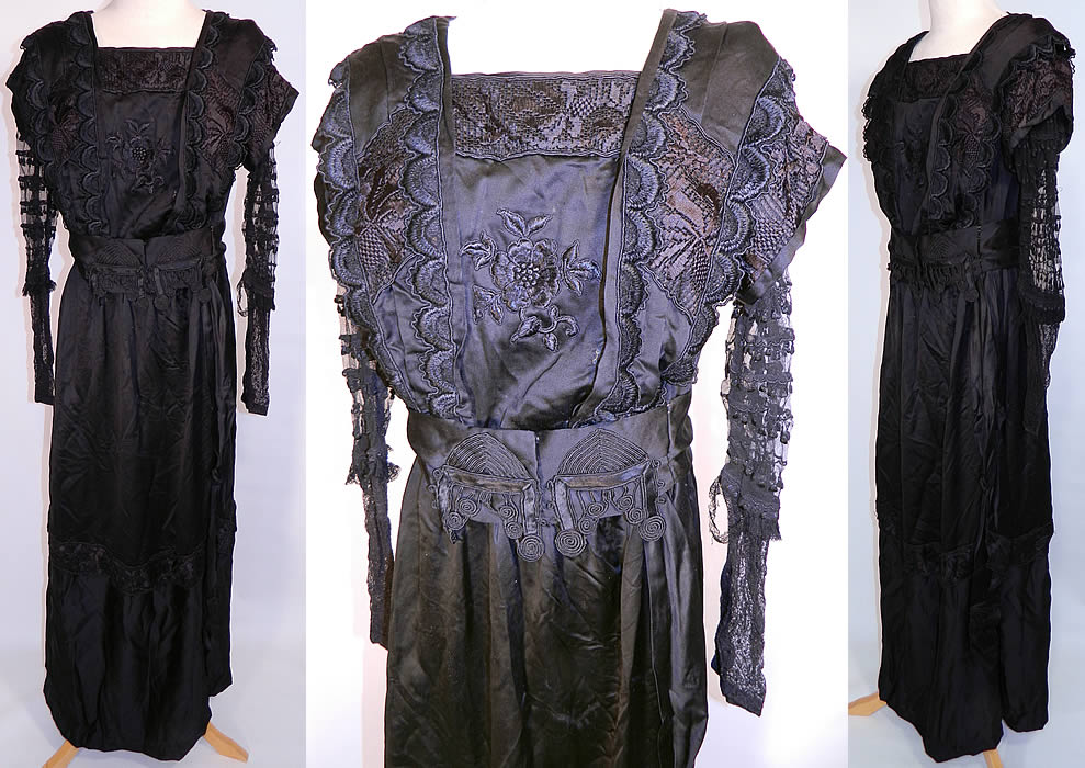Edwardian Embroidered Black Silk Lace Applique Art Nouveau Dress. This antique Edwardian era embroidered black silk lace applique Art Nouveau dress dates from 1910. It is made of a fine black silk fabric, with silk raised padded satin stitch embroidery work trim, a floral applique and sheer net lace sleeves.