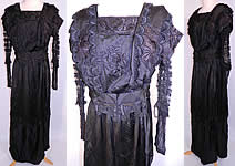 Edwardian Embroidered Black Silk Lace Applique Art Nouveau Dress.