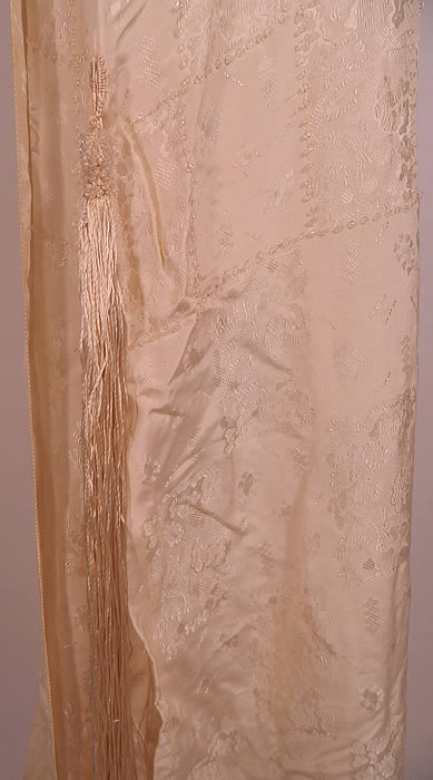 Vintage White Silk Damask Beaded Bridal Wedding Watteau Train Gown Dress. It is in good condition, with some faint discoloration yellowing under the arms. This is truly a rare and wonderful piece of wearable antique wedding textile art!