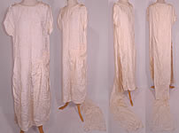 Vintage White Silk Damask Beaded Bridal Wedding Watteau Train Gown Dress