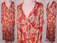 Vintage Art Deco Red Silk Gold Lamé Floral Poppy Drop Waist Dress Large Size