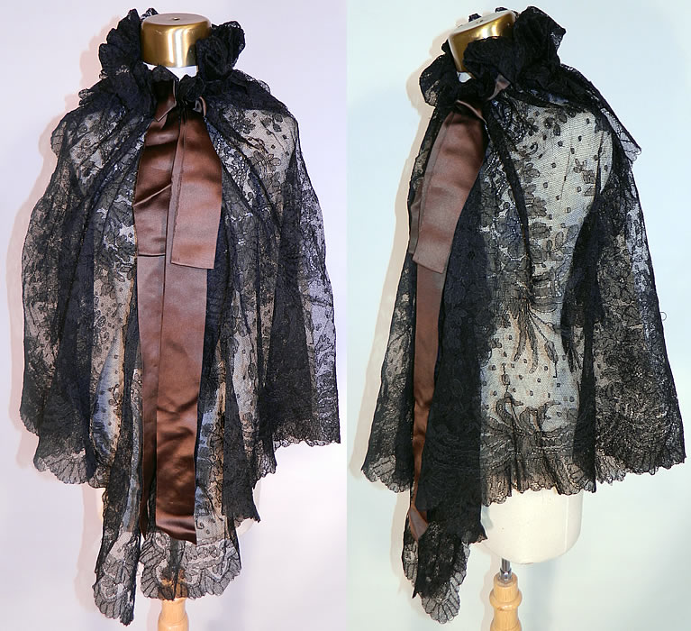 Victorian Antique Black Chantilly Lace Layered Shawl Cloak Cape. This antique Victorian era black Chantilly lace layered shawl cloak cape dates from the 19th century. It is made of a sheer fine black net French chantilly lace, with a swiss dot, floral foliage pattern outlined in black threads with detailed shading effects and a decorative scalloped border edging.