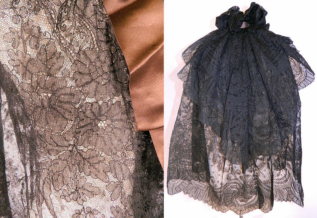 Victorian Antique Black Chantilly Lace Layered Shawl Cloak Cape. It is in good condition. This is truly a wonderful piece of wearable Victoriana antique lace art!