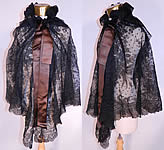 Victorian Antique Black Chantilly Lace Layered Shawl Cloak Cape