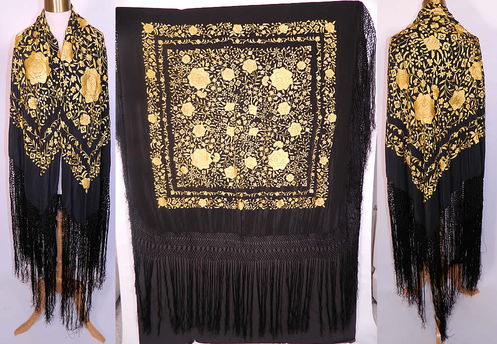 Antique Art Deco Black & Yellow Floral Silk Embroidered Piano Shawl. This antique Art Deco black and yellow floral silk embroidered piano shawl dates from the 1920s. It is made of a black silk fabric background, with a contrasting golden yellow silk raised padded satin stitch embroidery work. There is a floral vine leaf design, with larger embroidered yellow roses in a circle.