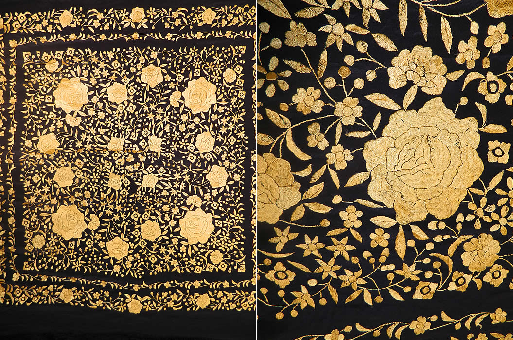 Antique Art Deco Black & Yellow Floral Silk Embroidered Piano Shawl. mbroidery work. There is a floral vine leaf design, with larger embroidered yellow roses in a circle. There is a hand knotted macramé black silk fringe which measures 25 inches long surrounding the entire shawl with rounded corners. The shawls fabric square measures 50 by 50 inches. This quality made Art Deco bohemian style Spanish Flamenco shawl is in good condition.