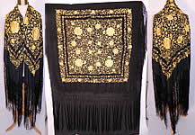 Antique Art Deco Black & Yellow Floral Silk Embroidered Piano Shawl