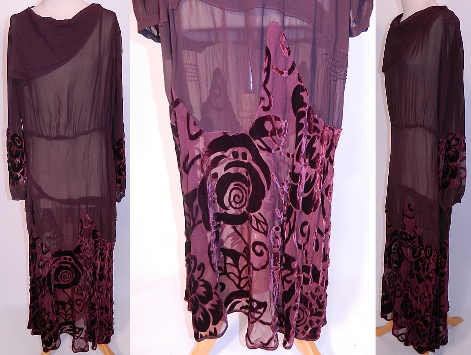 Vintage Burgundy Floral Voided Velvet Silk Chiffon Bias Cut Dress. This vintage burgundy floral voided velvet silk chiffon bias cut dress dates from the 1930s. It is made of a dark red burgundy wine color sheer silk chiffon, voided cut velvet fabric, with an abstract Art Deco floral design pattern.