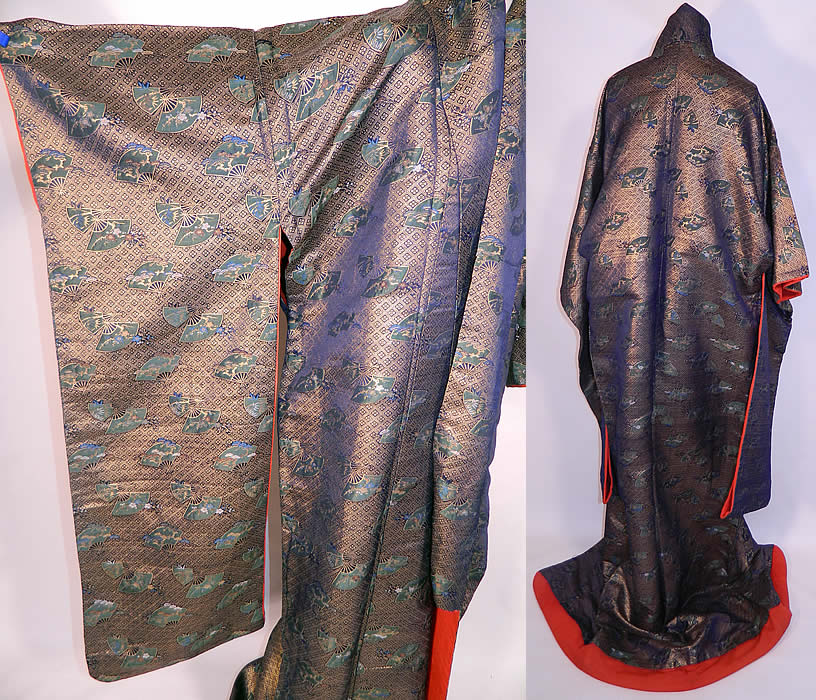 Vintage Japanese Geisha Gold Lamé Silk Brocade Fan Kimono. It is made of a gold silk lamé brocade fabric, with a fan, cherry blossom and diamond design pattern.