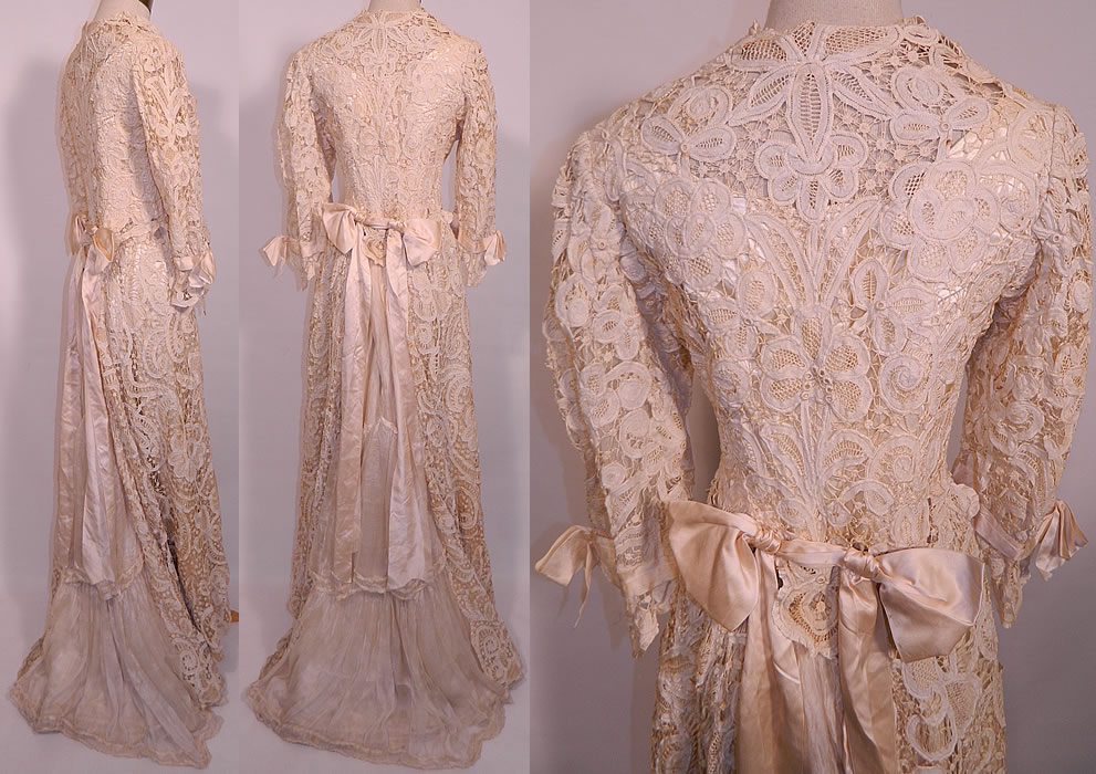 Edwardian Antique Battenburg Crochet Tape Lace Wedding Gown Dress