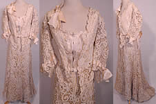 Vintage Edwardian Antique Battenburg Tape Lace Wedding Gown Dress Blouse Skirt