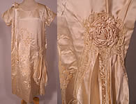 Vintage Cream Silk Grape Leaf Embroidered Lace Ribbon Trim Drop Waist Wedding Dress
