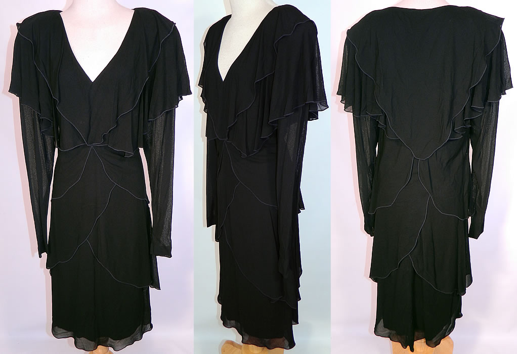 Vintage Holly Harp Layered Crepe Georgette Black Cocktail Dress. This vintage Holly Harp layered crepe georgette black cocktail dress dates from the 1980s. It is made of a black sheer chiffon crepe georgette fabric. This boho hippie romantic cocktail dress has a layered, draped design, with a low V neckline, broad shoulder padding, long sleeves, a large shawl collar and is fully lined.