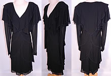 Vintage Holly Harp Layered Crepe Georgette Black Cocktail Dress