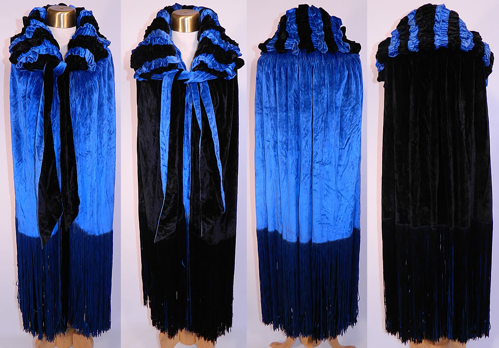 Vintage Gatsby Blue & Black Velvet Reversible Fringe Cocoon Opera Cloak Cape. This amazing Art Deco vintage Gatsby blue and black velvet reversible fringe cocoon opera cloak cape dates from the 1920s. It is made of bright royal blue and black silk velvet fabric, with quilted gathering ruffles on the collar, blue and black silk multi color fringe trim along the bottom and is reversible.