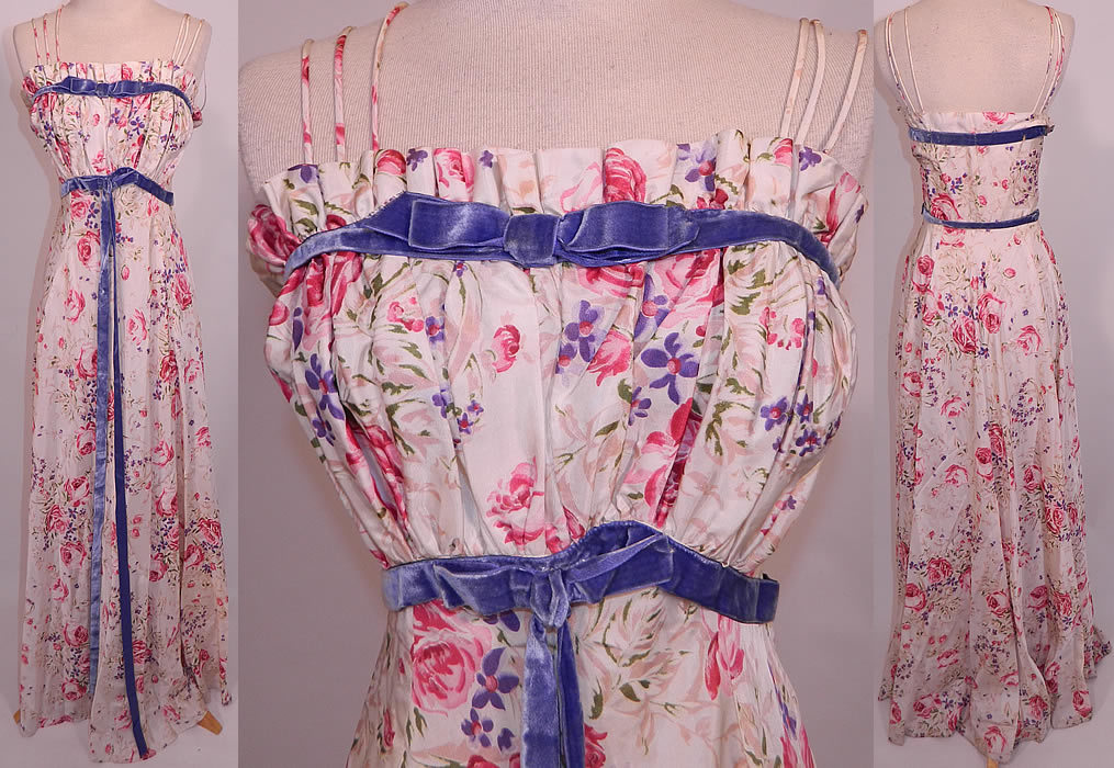 Vintage Lord & Taylor Young New Yorkers Floral Pastel Rayon Taffeta Dress Gown. This vintage Lord & Taylor Young New Yorkers floral pastel rayon taffeta dress gown dates from the 1940s. It is made of an off white rayon taffeta fabric, with a roses, floral pastel print pattern and periwinkle blue velvet ribbon bow trim accents.