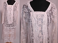 Vintage Normandy Lace White Embroidered Batiste Applique Drop Waist Dress