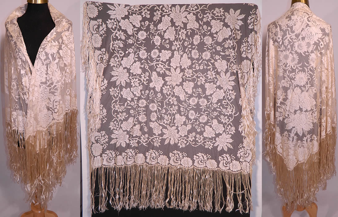 Antique Blonde Silk Net Floral Embroidery Lace Fringe Mantilla Spanish Shawl. This antique blonde silk net floral embroidery lace fringe mantilla Spanish shawl dates from the the 1920s. It is made of a off white ecru cream color blonde fine sheer silk net, with a woven embroidered floral vine leaf lace pattern. This lovely lace has a lavishly lush floral design throughout, a scalloped border edging and hand knotted cream silk fringe surrounding it.