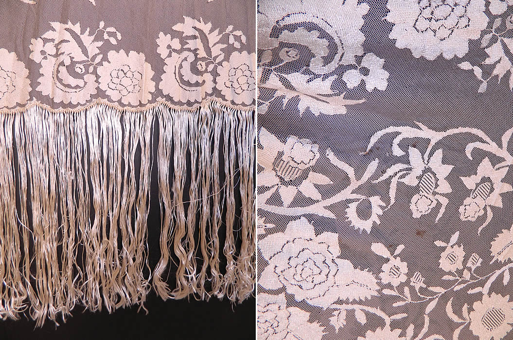 Antique Blonde Silk Net Floral Embroidery Lace Fringe Mantilla Spanish Shawl. The shawl has been created into a square shape shawl style scarf wrap veil Spanish mantilla, which the blonde color would have been appropriate for a church wedding or other ceremonial occasions. The shawl measures 58 by 48 inches and has 15 inch long fringe.