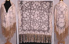 Antique Blonde Silk Net Floral Embroidery Lace Fringe Mantilla Spanish Shawl