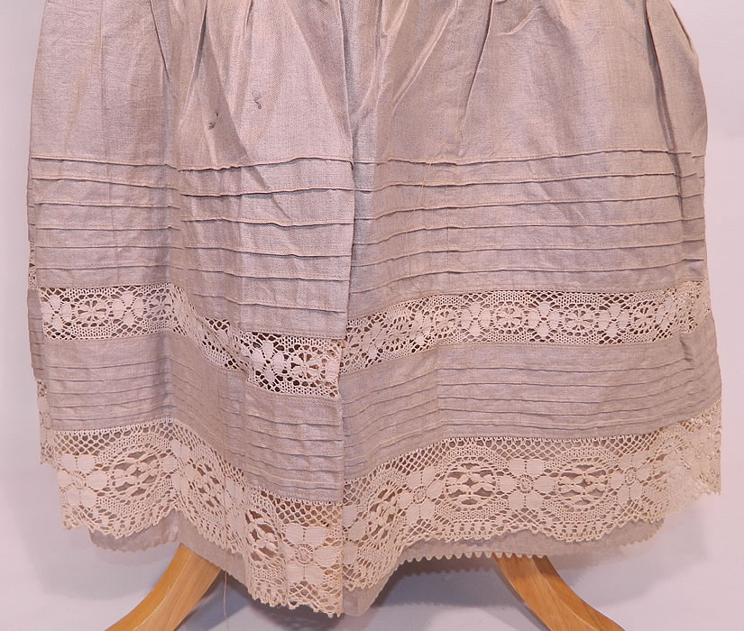 Victorian Linen & Lace Embroidered Initials Drawstring Petticoat Skirt. The petticoat measures 39 inches long, with a 30 inch adjustable waist which can be made larger. It is in good condition. This is truly a wonderful quality made undergarment petticoat skirt!