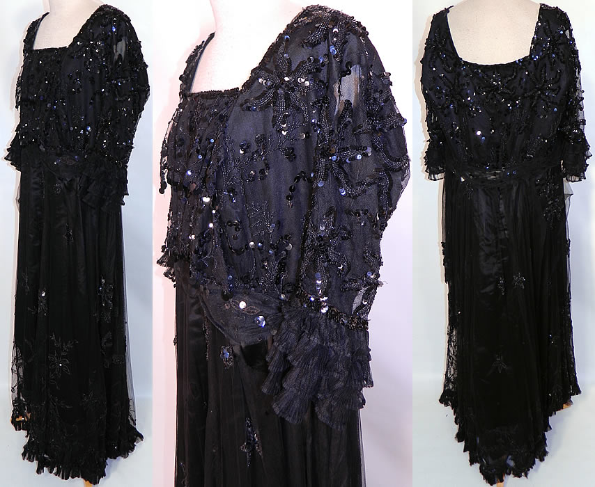 Edwardian Titanic Black Net Jet Beaded Sequined Evening Gown Dress. It is fully lined, with wonderful construction details and is quite heavy. The dress is a large size, measuring 55 inches long, with a 34 inch waist and 38 bust. It is in good condition, with only a few tiny holes in the net. This is truly a rare and exceptional piece of wearable beaded art!