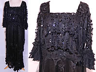 Edwardian Titanic Black Net Jet Beaded Sequined Evening Gown Dress