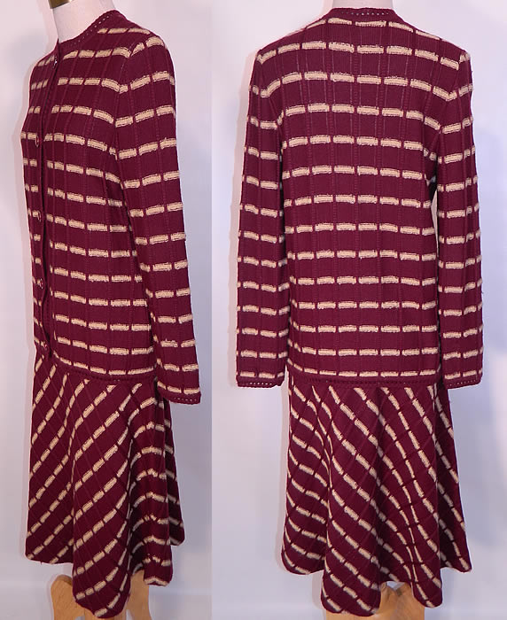 Vintage Burgundy Striped Knit Sweater Skirt Set Outfit Dress. The sweater measures 26 inches long, with a 32 inch waist, 34 inch bust, 14 inch back and 24 inch long sleeves.