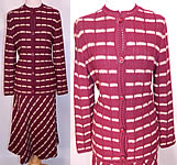 Vintage Burgundy Striped Knit Sweater Skirt Set Outfit Dress