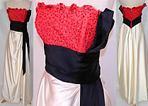 Vintage Emma Domb Red Lace Sequin Black & White Satin Strapless Evening Gown