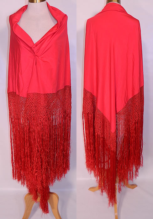 Antique Art Deco Red Silk Macrame Fringe Flapper Piano Shawl. This vintage antique Art Deco red silk macrame fringe flapper piano shawl dates from the 1920s. It is made of a radiant red silk fabric, with matching red hand knotted macrame silk fringe trim edging which measures 25 inches long surrounding the entire shawl.
