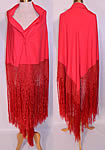 Antique Art Deco Red Silk Macrame Fringe Flapper Piano Shawl
