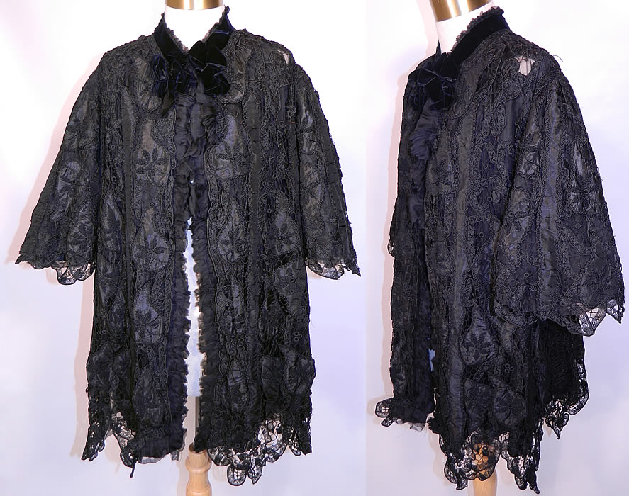 Victorian Fuchs & Rosenberger Berlin Black Silk French Knot Battenburg Tape Lace  Coat. This Victorian era antique Fuchs & Rosenberger Berlin black silk French knot Battenburg tape lace coat dates from 1900.
