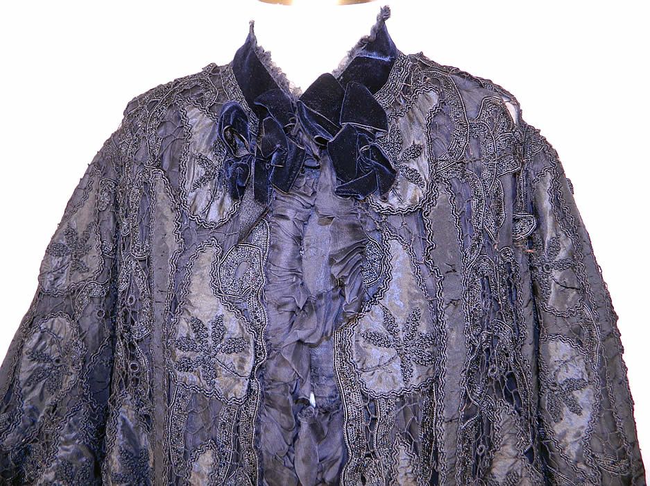 Victorian Fuchs & Rosenberger Berlin Black Silk French Knot Battenburg Tape Lace  Coat. It is made of black silk appliques, with French knot embroidery work, Battenburg tape lace, button hole stitching, connecting brides and bars.