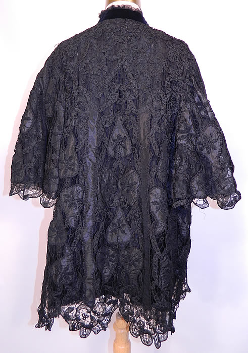 Victorian Fuchs & Rosenberger Berlin Black Silk French Knot Battenburg Tape Lace  Coat. The coat measures 30 inches long, with 48 inch hips, a 48 inch waist, a 40 inch bust and 15 inch back.