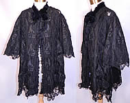 Victorian Fuchs & Rosenberger Berlin Germany Label Black Silk Battenburg Tape Lace Coat