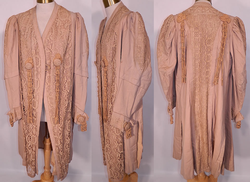 Edwardian Ecru Camel Color Wool Lace Tassel Trim Traveling Coat. This antique Edwardian era ecru camel color wool lace tassel trim traveling coat dates from 1905. It is made of a ecru tan camel color fine soft wool fabric, with matching color lace inserts and silk braided knotted tassel button trim accents.