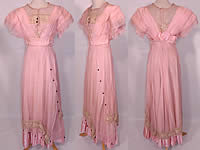 Edwardian Titanic Pink Silk Pearl Beaded Lace  Evening Gown Dress