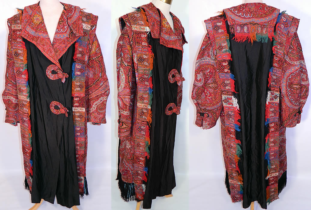 Antique Kashmir Hand Embroidered Woven Wool Pieced Paisley Long Duster Coat.