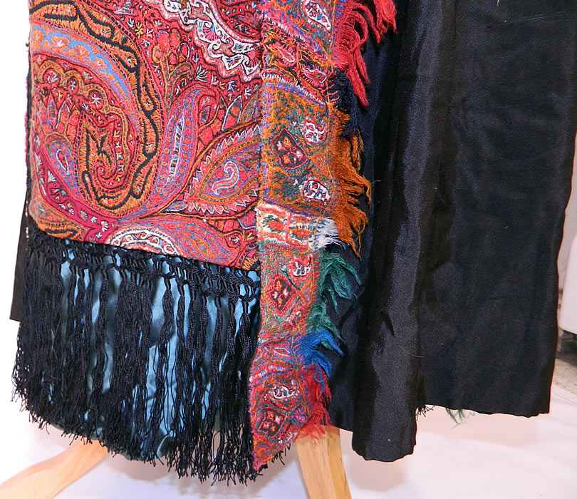 Antique Kashmir Hand Embroidered Woven Wool Pieced Paisley Long Duster Coat. This is truly a rare and exceptional unique one of a kind piece of wearable textile art!
